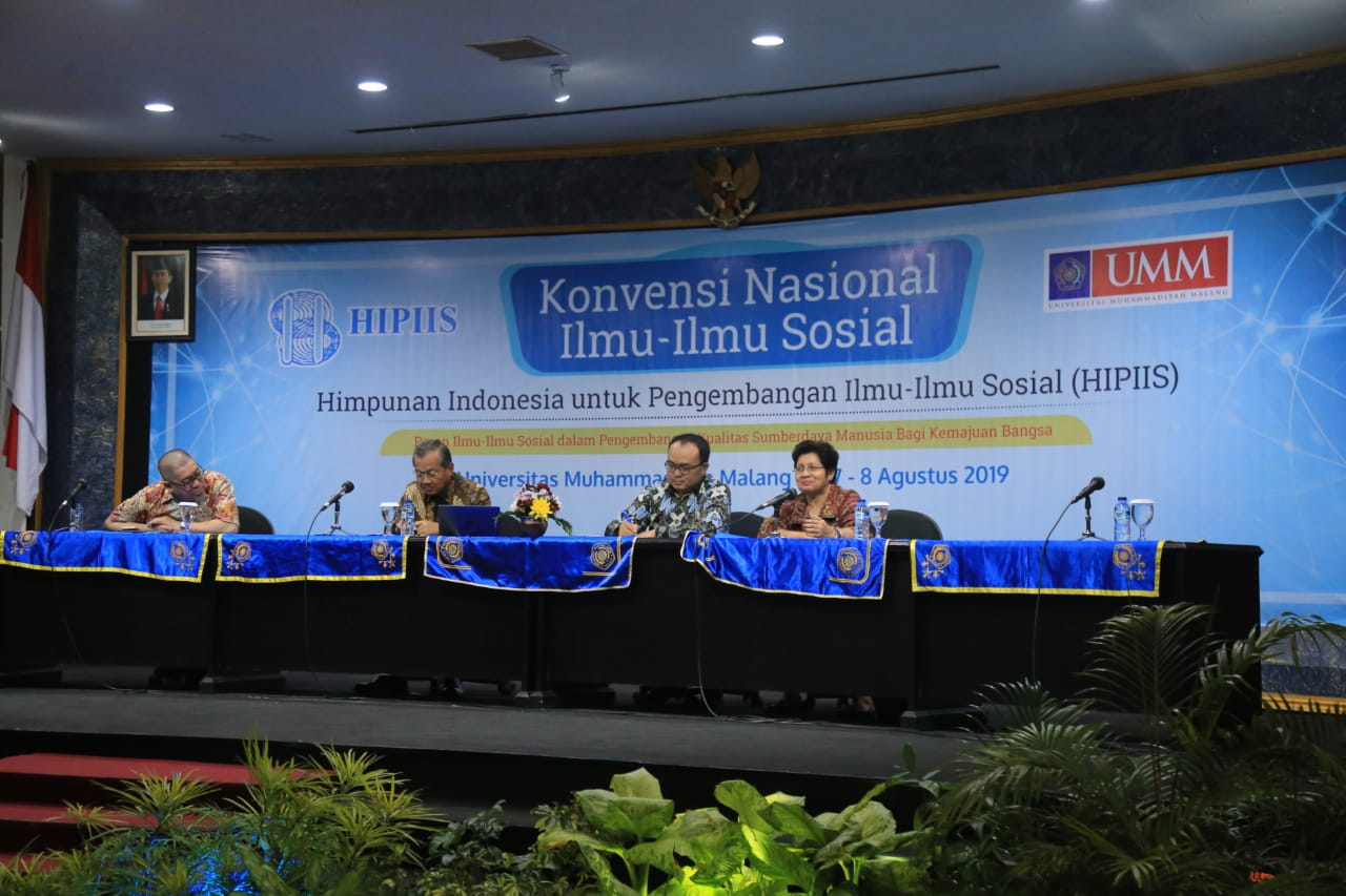 Speakers at the first session of the Indonesian Association for Social Sciences Convention for the